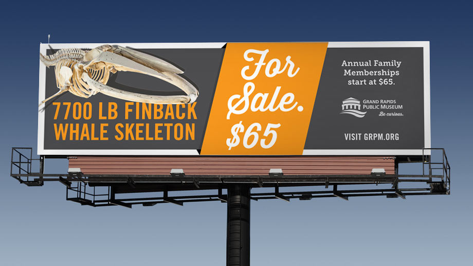 Billboards promoted museum membership via mock-classifieds.