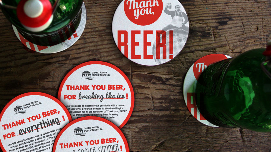 We asked beer fans to pen their gratitude onto coasters which became part of the exhibit.