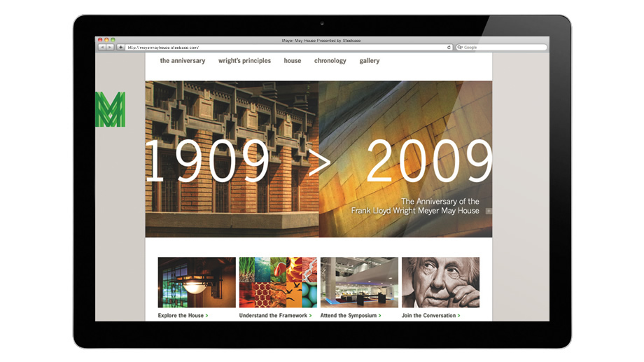 Website celebrating the Meyer May House's 100th anniversary.