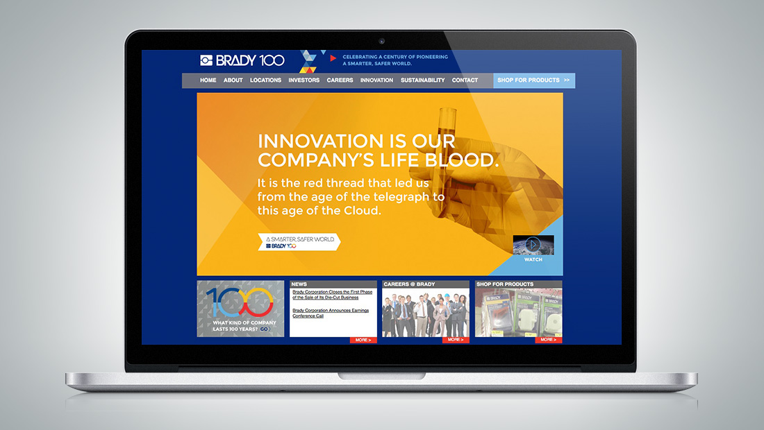 The corporate homepage incorporated elements of the 100-year theme.
