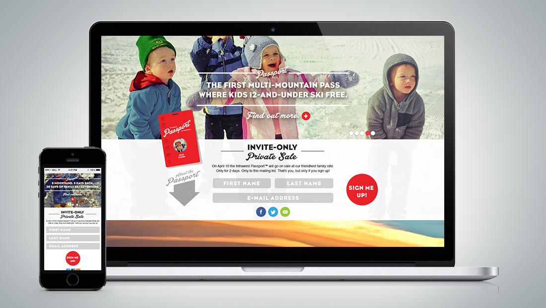 Design of the sign-up landing page for the invite-only sale.