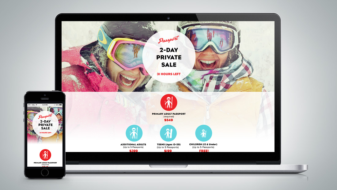 Design of the landing page for the private sale.
