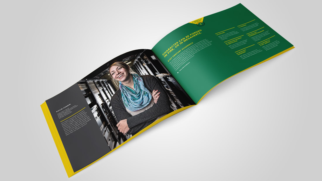 Spread from the Viewbook for undergraduate admissions.