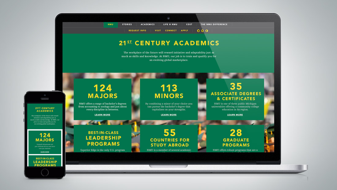 Academics section on the Admissions microsite.