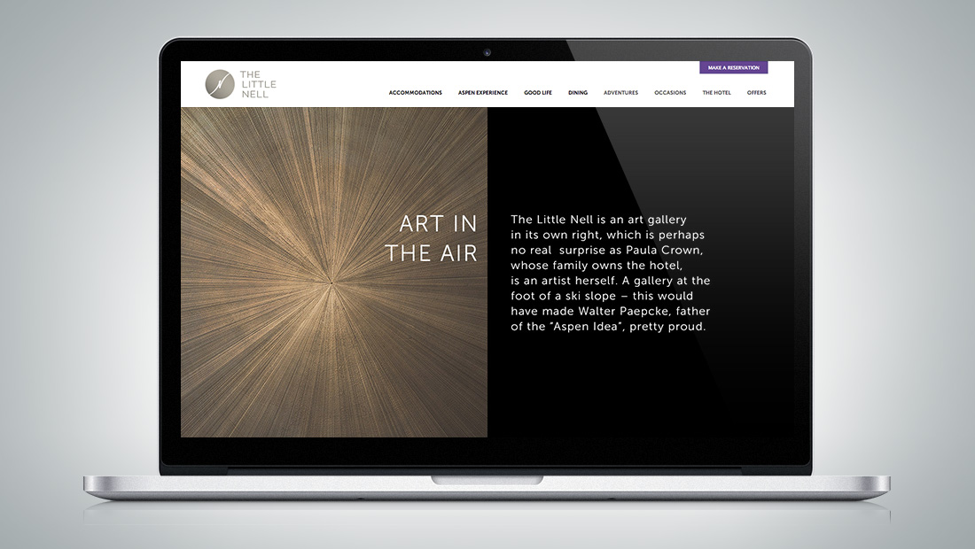 The website reflects the Aspen Idea in the hotel experience.