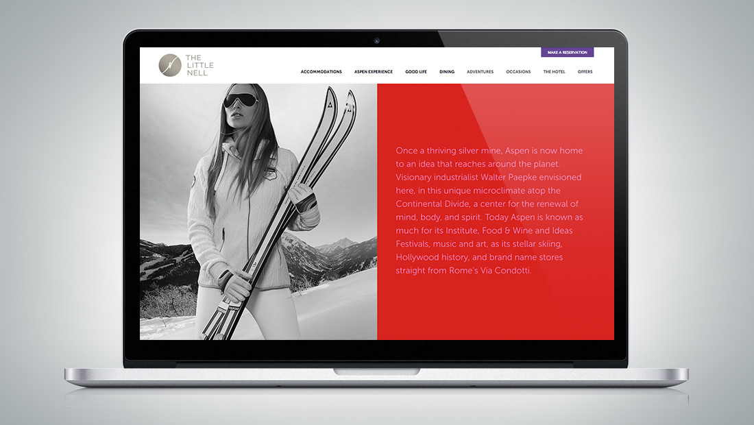 The website reflects the unique story of Aspen in the hotel experience.