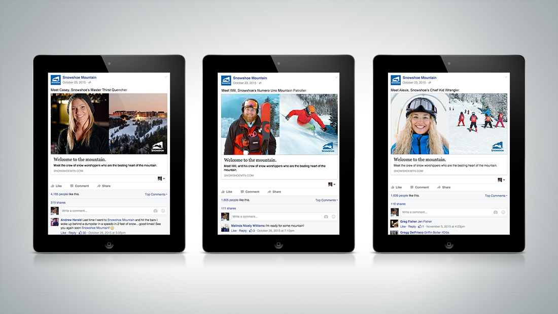 Facebook was the perfect platform to create further engagement with Snowshoe's ambassadors.