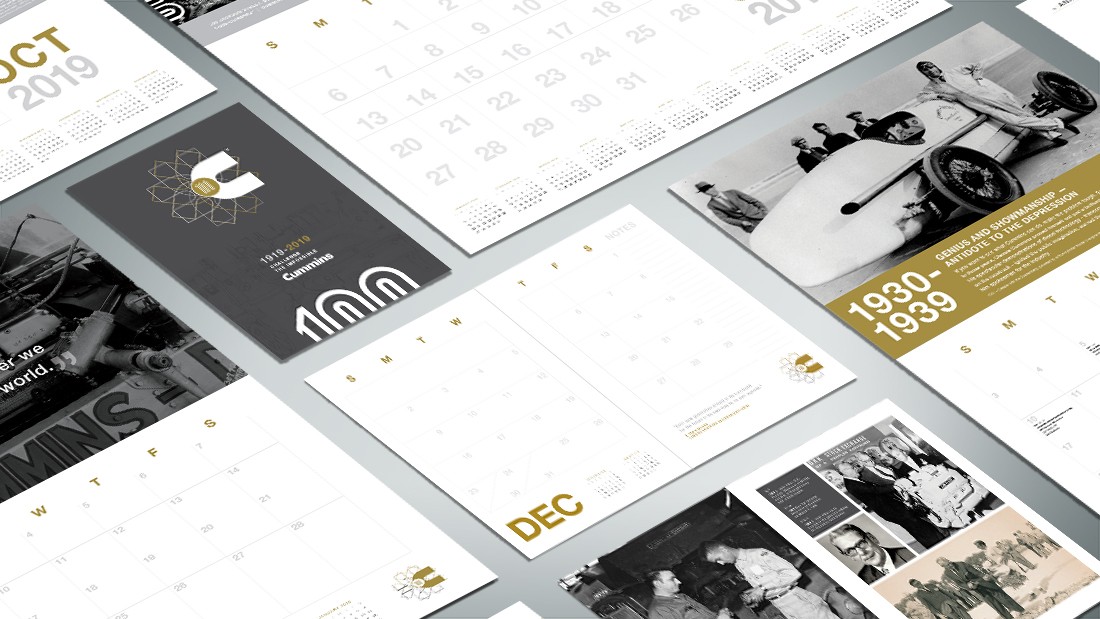 A commemorative anniversary calendar system narrates the company's history through proof points around the anniversary theme.