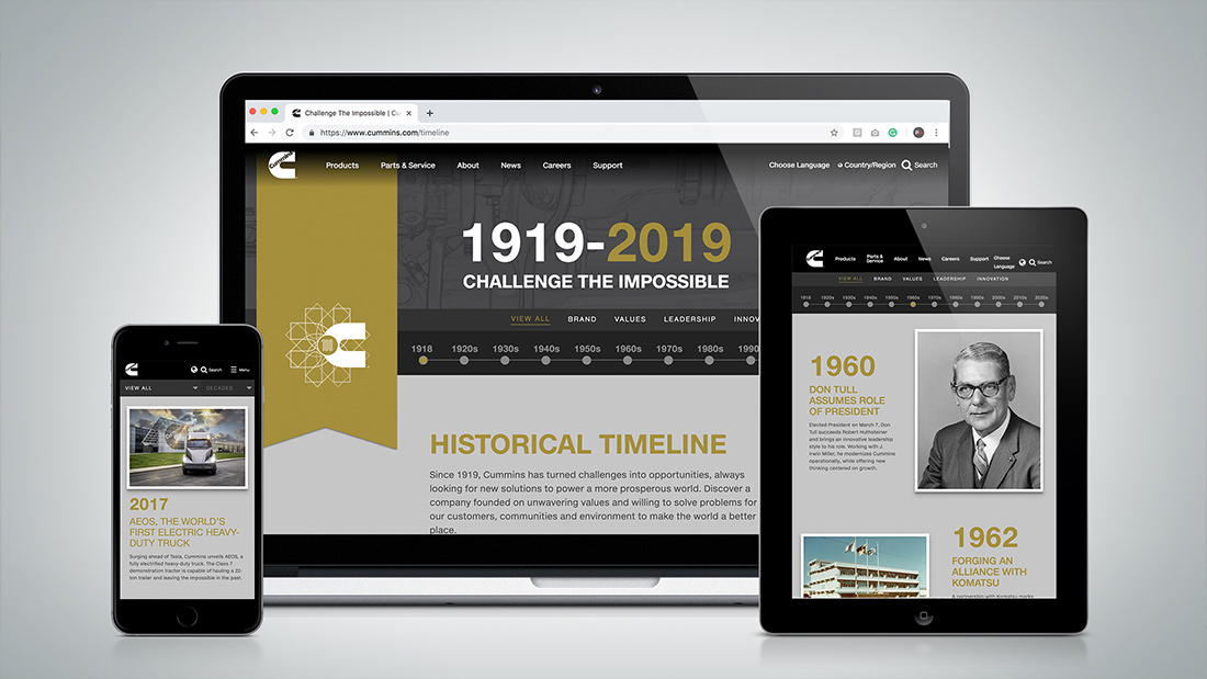"The historical timeline celebrates the company's history, evolution, and the red thread of ""Challenge the Impossible."""